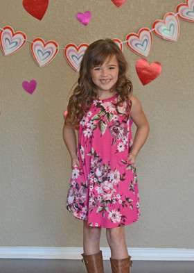 Girls True Love Fuchsia Floral Tank Dress