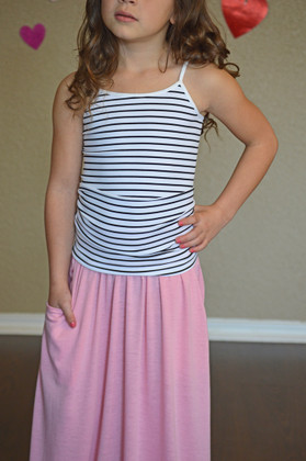Girls Black and White Striped Seamless Cami Tank