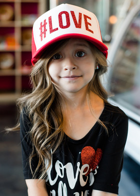 Girls Red Glitter #LOVE Mesh Cap