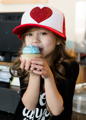 Girls Glitter Heart Mesh Cap