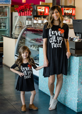 "Mommy ""Love is All You Need"" 3/4 Sleeve Dress Black"