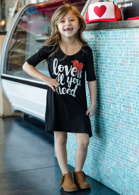 "Girls ""Love is All You Need"" 3/4 Sleeve Dress Black"