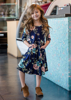 Girls Time to Shine Floral 3/4 Sleeve Dress Navy