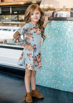 Girls Floral Button Back Suede Elbow Patch Dress Aqua