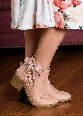 Girls Mauve Ribbon Detail Heeled Booties