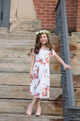 Girls One and Only White Floral Cap Sleeve Dress