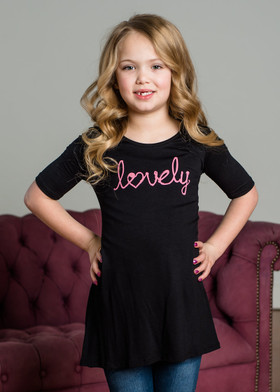 "Girls ""Lovely"" 3/4 Sleeve Dress Black"