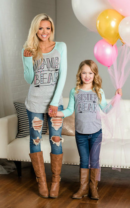 "Girls ""Sister Bear"" Tribal Print Long Sleeve Baseball Top Mint"