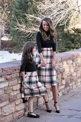 Mommy So Classy Plaid 3/4 Sleeve Tie Dress Tan