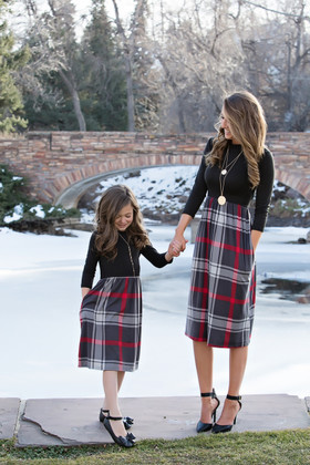 Girls So Classy Plaid 3/4 Sleeve Dress Black