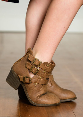 Girls Tan Buckle Ankle Booties