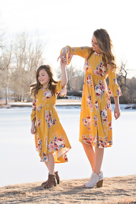 Girls Yellow 3/4 Bell Sleeve Floral Midi Dress