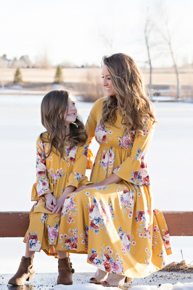 Mommy Yellow 3/4 Bell Sleeve Floral Midi Dress