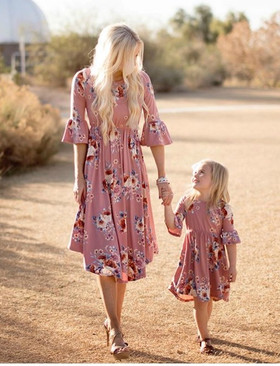Girls Mauve 3/4 Bell Sleeve Floral Midi Dress