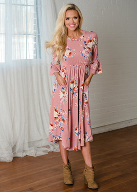 Mommy Mauve 3/4 Bell Sleeve Floral Midi Dress