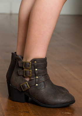 Girls Dark Brown Buckle Ankle Booties