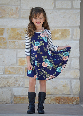Girls All I Need Striped 3/4 Sleeve Peach and Teal Floral Dress Navy