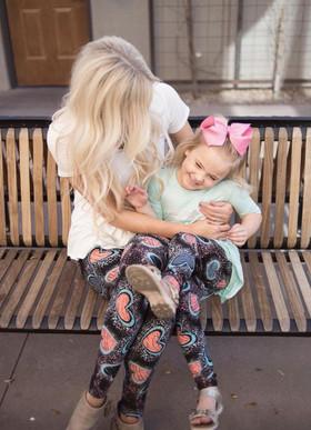 Girls Old School Love Aqua and Pink Scribble Leggings
