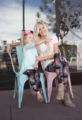 Mommy Old School Love Aqua and Pink Scribble Leggings