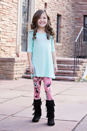 Girls Spring Time Mauve Floral Leggings CLEARANCE