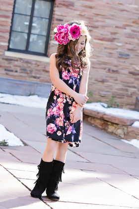 Girls True Love Black Floral Tank Dress
