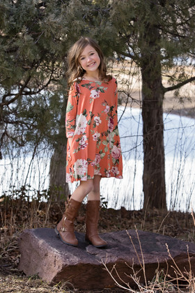 Girls Promise Me Floral 3/4 Sleeve Flowy Dress Rust