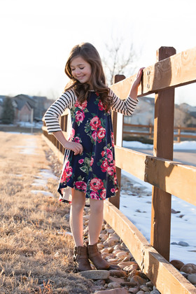 Girls All I Need Striped 3/4 Sleeve Pink Floral Dress Navy