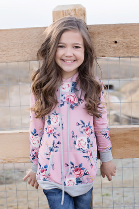 Girls Sweet Love Pink Floral Hoodie w/ Gray Trim
