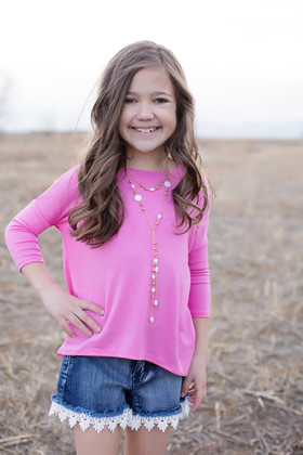Girls Solid Pink High Low 3/4 Sleeve Top CLEARANCE