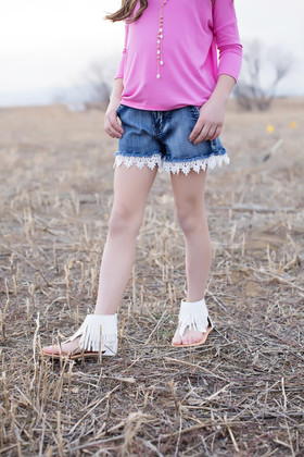 Girls Dark Wash Denim Shorts w/ Crochet Trim