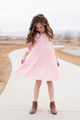 Girls Take a Chance 3/4 Sleeve Polka Dot Dress Blush