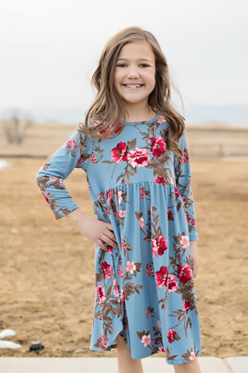 Girls Irreplaceable 3/4 Sleeve Floral Baby Doll Dress Dusty Blue CLEARANCE