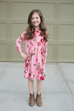 Girls Irreplaceable 3/4 Sleeve Floral Baby Doll Dress Pink CLEARANCE