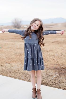 Girls Take a Chance 3/4 Sleeve Polka Dot Dress Gray