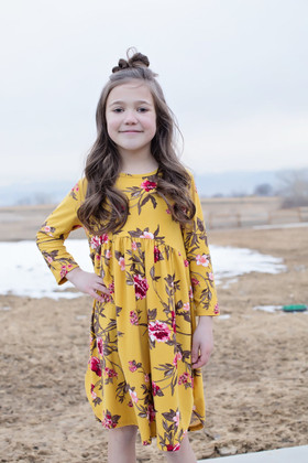 Girls Irreplaceable 3/4 Sleeve Floral Baby Doll Dress Yellow CLEARANCE