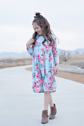 Girls Irreplaceable 3/4 Sleeve Floral Baby Doll Dress Sky Blue