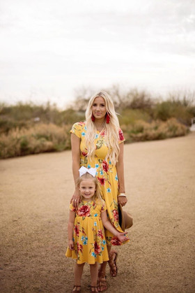 Mommy Stuck in Paradise Floral Cap Sleeve Midi Dress Yellow