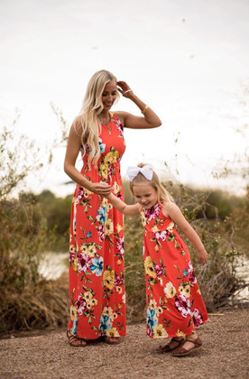 Mommy Holding on Floral Tank Maxi Dress Coral
