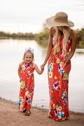 Girls Holding on Floral Tank Maxi Dress Coral