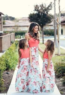 Girls Extreme Beauty Floral Maxi Dress Neon Coral/Mint