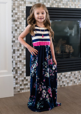 Girls Made in Heaven Striped Floral Maxi Dress Navy