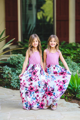 Girls More Than A Feeling Floral Bottom Maxi Dress Mauve