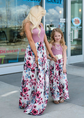 Mommy More Than A Feeling Floral Bottom Maxi Dress Mauve