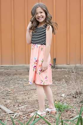 Girls Forget Me Not Peach Floral and Striped Tank Dress