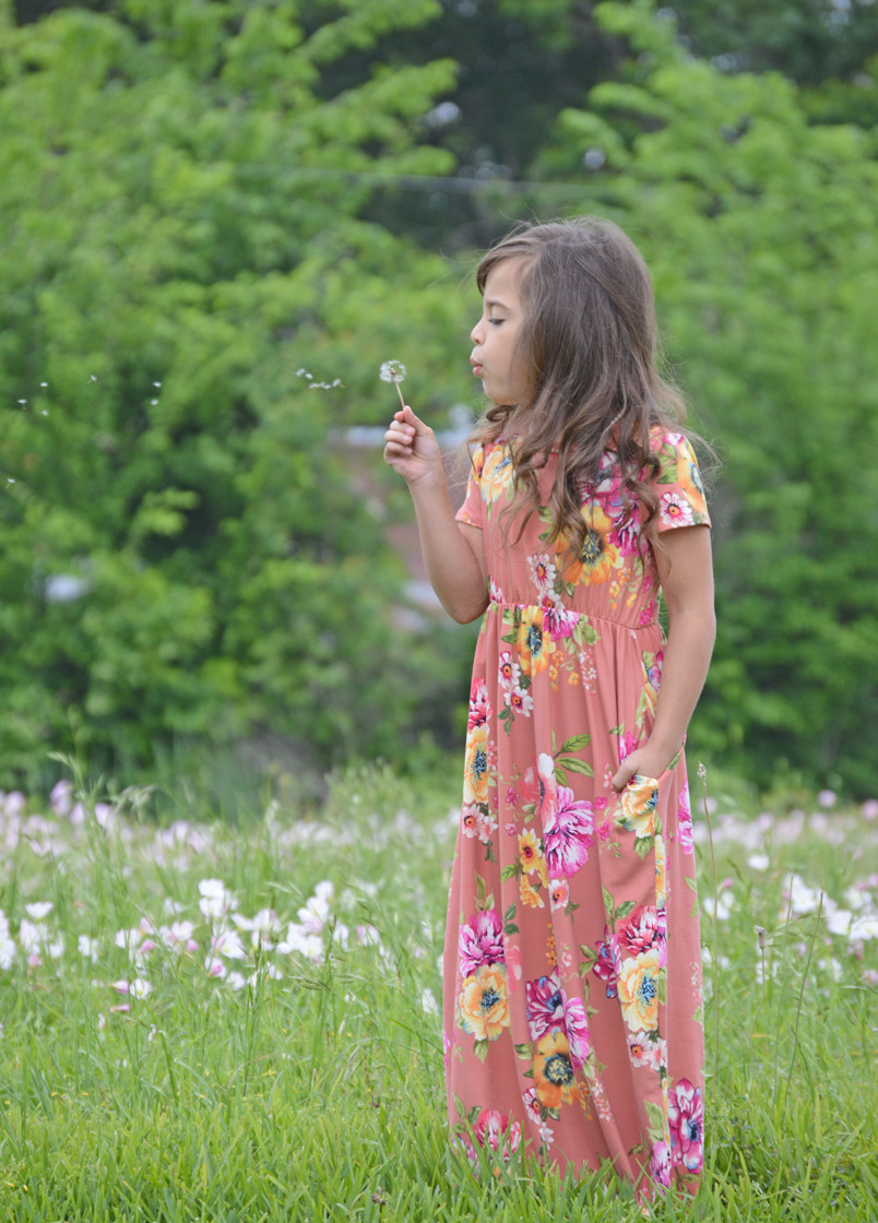 581bfb20439 Girls Sunny Day Floral Cap Sleeve Maxi Dress Peach - Ryleigh Rue Clothing  by MVB