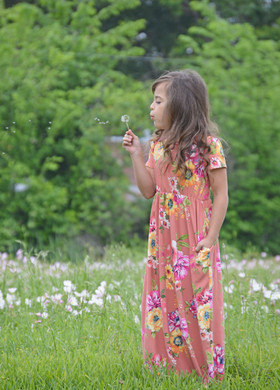 Girls Sunny Day Floral Cap Sleeve Maxi Dress Peach