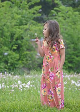 Girls Sunny Day Floral Cap Sleeve Maxi Dress Peach