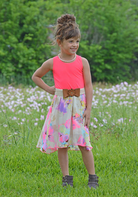 Girls Neon Spring Fling Floral Tank Dress w/ Belt