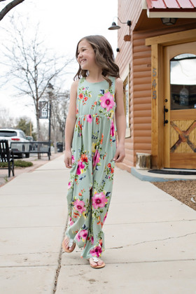 Girls All My Love Floral Tank Maxi Dress Sage CLEARANCE