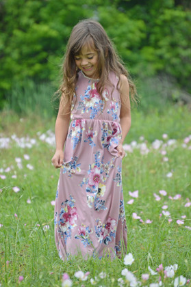Girls All My Love Floral Tank Maxi Dress Lavender CLEARANCE